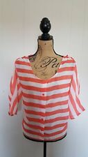 The Arte by Zenana Womens Top Large Orange White Striped Button Cold Shoulder