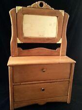 Vintage Wooden Doll Dresser With Mirror