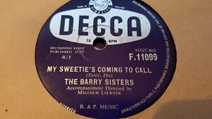 THE BARRY SISTERS MY SWEETIE'S COMING TO CALL & LITTLE BOY BLUE DECCA F11099