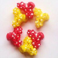 6 MINI PETITES PINCES CRABES BARETTES CHEVEUX ROSE & JAUNE 3 cm / 2 cm