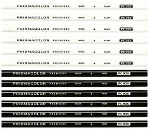 Prismacolor Premier Colored Pencil - Black PC935 and White PC938 Set - 12PC