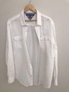 Tommy Hilfiger - White Linen Shirt - Long-sleeve - XL