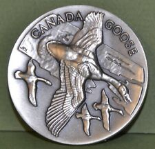 CANADA GOOSE,  WITTNAUER LONGINES WILDLIFE STERLING SILVER MEDAL 1.14 ozt