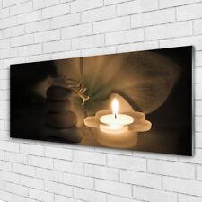 Glasbilder 100x50 Wandbild Druck auf Glas Blume Steine Kerze Kunst
