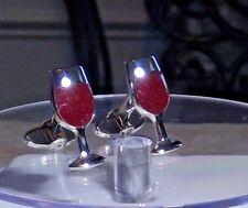 DOLAN BULLOCK STERLING SILVER wine glasses  Cufflinks USA MADE
