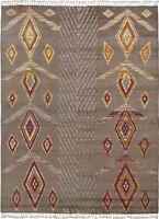 Geometric Moroccan Gabbeh Lamb-Wool Oriental Area Rug Hand-Knotted 8x10 Carpet