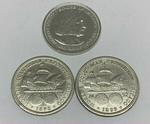 1893 & 1892 Silver Columbian Exposition US Commemorative Half Dollar Worlds Fair