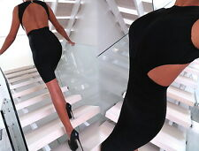 LUXUS SCHWARZ KLEID STRETCH 100% ORIGINAL DAMEN TOP W88 SEXY BEST FIT DRESS M