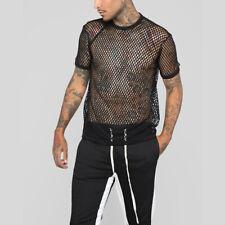 Men's Sexy Mesh T-shirt Gym Training Crew Neck Fish Net Tank Clothing Club Wear
