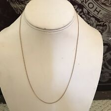 """Estate solid 14k yellow gold 18"""" long oval link cable chain necklace 1.4g fine"""