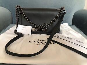 Coach Leather Bag Black Gunmetal Chain Strap