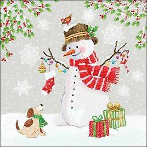 4 Individual Snowman and Friends Decoupage Napkins for decoupage, table or party