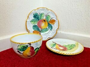 Italian Pottery Extra Large Oversized Cup Saucer and Plate Fruit Design Vintage