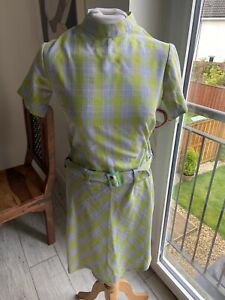 VINTAGE 60's BLUE & GREEN CHECK MOD MINI TUNIC DRESS UK 10 SMALL
