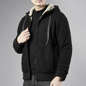 Mens Hooded Sweatshirts Zip Jacket Coats Winter Warm Wool Lined Outwear Oversize