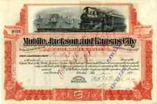 1901 Mobile Jackson & Kansas City RR Stock Certificate