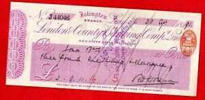 LONDON & COUNTY BANKING COMPANY, ISLINGTON CHEQUE. USED 30TH APRIL 1891.