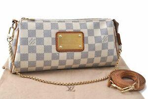 Auth Louis Vuitton Damier Azur Eva Accessories Shoulder Pouch N55214 LV D2993
