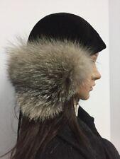 NEW INDIGO FOX FUR HAT BLACK SUEDE EAR WARMER All Sz.