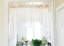 Beautiful Ribbon Rose Embroidery Hemstitch Cutwork Cotton Curtain Swag Beige