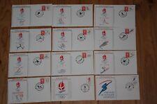 LETTRES enveloppe 1er JOUR JEUX OLYMPIQUE HIVER ALBERVILLE  SLALOM SKI lot de 12
