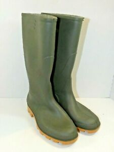 ITALIAN Mens Rubber Rain Mud Boots Green Size 9 Pull On Wet Weather Perfect