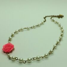 Pink Flower White Glass Pearls Vintage Inspired Antique Bronze Tones Necklace