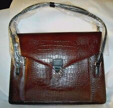 NWT La Tour Eiffel ALL LEATHER, Rich Dark Brown Croc Embossed Briefcase Bag