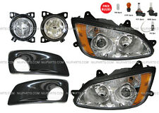 6 Pieces Combo - Kenworth T660 Headlight with Fog Lamp and Bezel Black - LH & RH