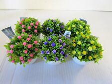 6 Assorted Artificial Mini Flowering Plant In Pot - Purple Yellow  Pink - 10x8cm