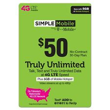 $50 SIMPLE MOBILE ReUp, Top-Up, Prepaid Card, PIN, RECHARGE