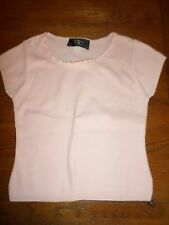 New Vintage 70'S Soft Pink Knit Top With Tiny Delicate Ribbon Neckline Medium