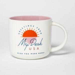 15oz Stoneware Greetings from My Desk Mug Cream – Threshold™