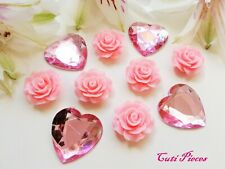 Big Pink Resin Roses Rhinestone Heart Flat-Back Cabochon Embellishment Craft MX4