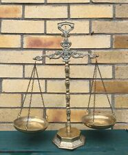 Vintage Decorated Sold Brass Justice Scales