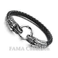 FAMA 20cm Black Braided Leather Bracelet w/  316L Stainless Steel Casted Dragon