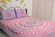 Indian Cotton Blanket Queen Duvet Cover Mandala Two Pillow Cover Handmade Ethnic