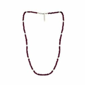 Silverly .925 Sterling Silver Ruby Gemstone Bead Necklace, 45 + 2 cm