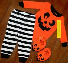 Pajama Set Halloween 3pc Gymboree Slippers Striped Boy size 12-18 mo New