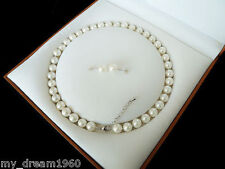 Real 8mm White South Sea Shell Pearl Necklace Earring Set 18""