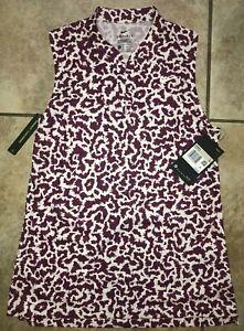 Womens Nike Sleeveless Dri-Fit Golf Polo White Brown BV0225-671 Sz XS NWT $50