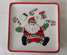 """Square Fitz and Floyd Santa Claus Tray Stocking Stuffer Hors d'oeuvre 6 1/4"""""""