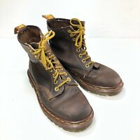 Doc Martens England Brown Distressed Leather Eight Eye Lace Womens Combat Boots