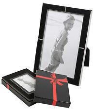 10 x 15cm Black & Diamante Effect Modern Photo Frame Glass Wedding Gift Boxed