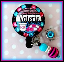 PHARMACY TECH RETRACTABLE ID REEL BLING BADGE HOLDER with Charm