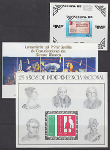 Mexico Sc 1385, 1389, 1403 MNH. 1985 issues, 3 diff Souv Sheets, VF
