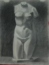 Bellissimo Disegno a Carboncino 1900 Statua Raffigurante Torso di Afrodite 63x48