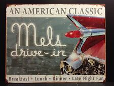 Mels Drive- in Retro TIN SIGN vtg Metal Wall Diner Bar 59 Cadillac