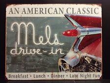 Mels Drive- in Retro TIN SIGN vtg Metal Wall Diner Bar 59Cadillac garage 30x40cm