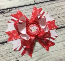 """5""""Handmade Red White Christmas Penguin Snowflake Boutique Hair Bow"""